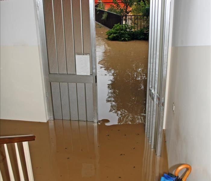 Floodwaters enters a home