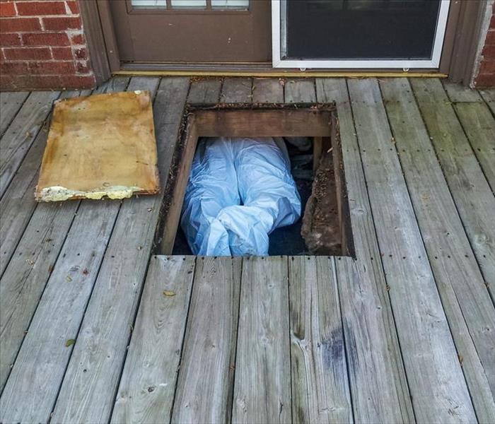Workman with protective suit crawing under house from crawlspace underneath a wooden deck - only his legs and feet showing